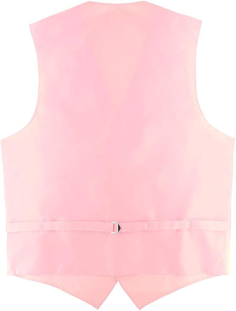 Men's Dress Vest & Skinny NeckTie Solid Pink Color 2.5