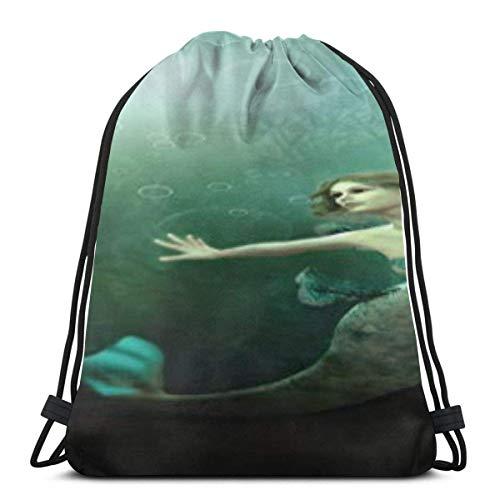 "Yuanmeiju 3D Computer Mermaid In The Ocean 3D Print Mochila con cordón Rucksack Shoulder Bags Bolsa de Gimnasio For Adult 16.9""X14"""