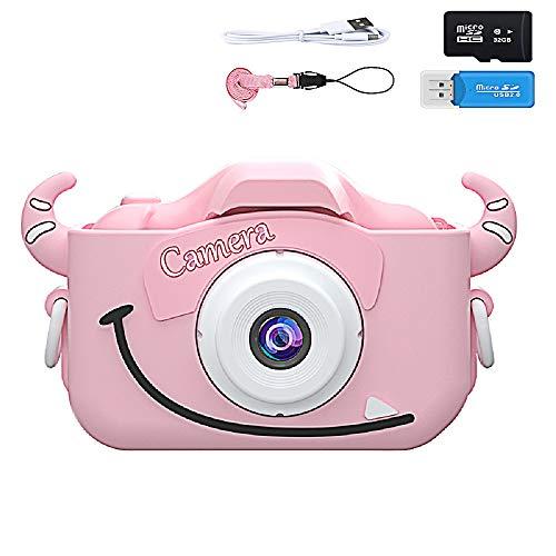 Kinderkamera, Digitalkamera für Kinder mit 20 Megapixeln 1080P HD, Kinderkamera-Videorecorder mit 32 GB SD-Karte, Geburtstagsfest Neujahrs-Weihnachtsspielzeuggeschenk für Kinder Jungen Mädchen (Rosa)
