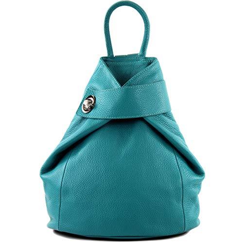 modamoda de - T179 - ital: Damen Rucksack Tasche aus Leder, Farbe:Türkis_1