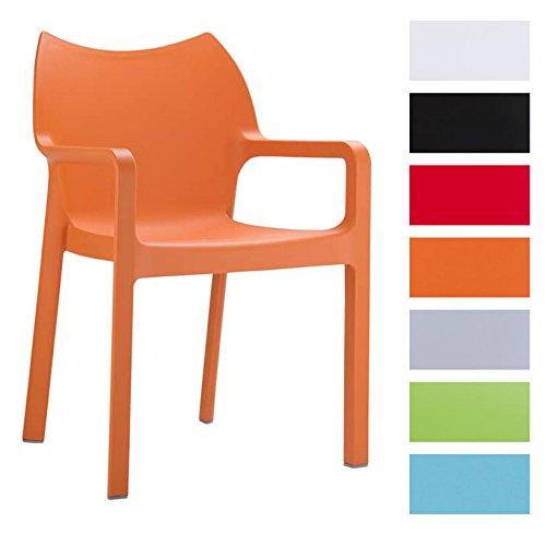 CLP 2er-Set Gartenstuhl Diva mit Armlehnen | Pflegeleichter Kunststoffstuhl mit Einer Belastbarkeit von 160 kg erhältlich Orange