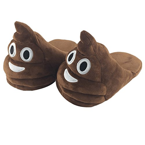 JLTPH Unisex Poop Emoji House Slippers Funny Soft Plush for Adults Kids Teens Bedroom Smiley Poop Comfy Socks Womens Girls (Color 01)