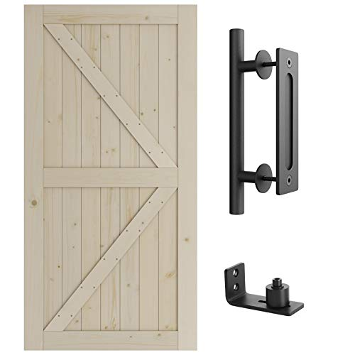 SmartStandard 42in x 84in Barn Door Kit, (2-Panel Sliding Door Slab & Pull and Handle Set & Floor Guide), Pre-Drilled Ready to Assemble, Natural Unfinished Solid Wood Door, K-Frame (Fit 7FT -8FT Rail)