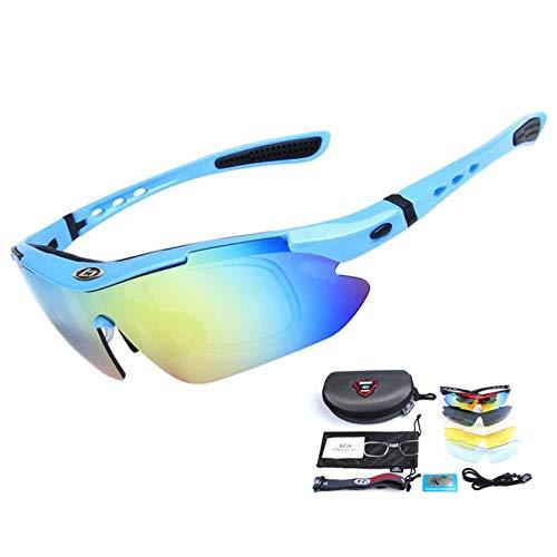 Gafas de Ciclismo Sunglasses Gafas De Bicicleta MTB Polarizadas A Prueba De Viento Al Aire Libre 5 Lentes Uv400 Gafas De Ciclismo para Montar Deportes Bicicleta De Montañ