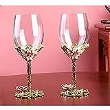 Bicchiere da vino in cristallo da 350 ml, elegante, realizzato a mano, smaltato, con fiore, per gin, per cene, bar e feste (doppio - gioco regolare)