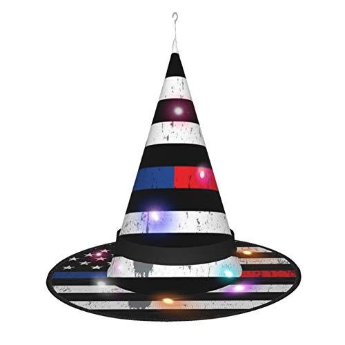 MXDISIWD - Sombrero de bruja con bandera americana con polica de Halloween para fiesta de Halloween