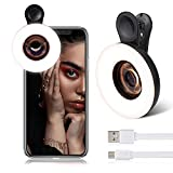 Phone Camera Lens with Selfie Ring Light, 15x Macro Lens, 3 Light Modes Rechargeable with Double Row 53 LED Lights, for iPhone/Android Smart Phone Photography, Camera Video Recording, VLOG