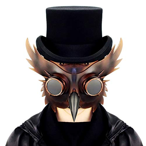 JSFQ Animal Cospaly Plague Doctor Mask Steampunk PU Art Retro Costume Props Halloween Carnival Costume (Color : Brass)