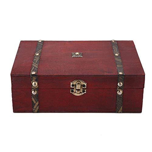 no-branded Caja de almacenamiento de joyas de madera envejecida, estilo retro, con caja de regalo, organizador de perlas y pulseras