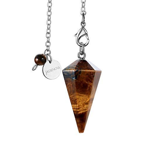 JADENOVA Pendulum Crystal Necklace Natural Yellow Tiger Eye Crystal Pendulums for Divination Dowsing Quartz Pendulum Chakra Reiki Healing Jewelry for Women Men