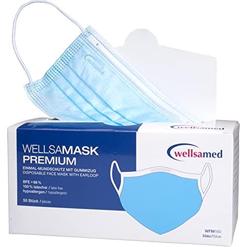 wellsamed wellsamask medizinischer Mundschutz, Mund und Nasenschutz, OP-Masken, Einweg, 50 Stück, Blau CE / EN 14683 Typ IIR (Typ 2R) 3-lagig