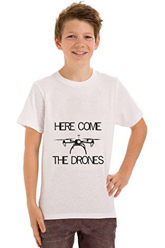 teeznutz hier komen de drones T-Shirt kinderen unisex T-Shirt leeftijden 5-13