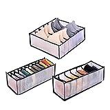 CAONIDAYE 3 unids/Set organizadores de cajones Plegables Caja de Almacenamiento Caja para Corbatas de Sujetador Ropa Interior Calcetines Bufanda organizadores de cajones Gris style2-3pcs-negro