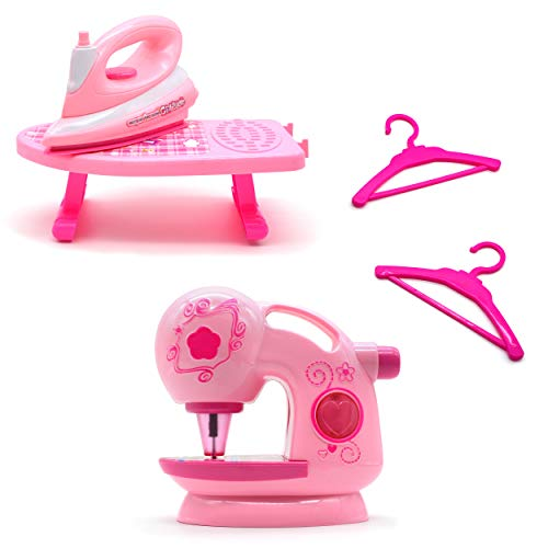 JIMMY'S TOYS Sewing Machine, Iron, and Ironing Board House Keeping Pretend Playset for Girls and Young Toddler Children - (Battery Operated) Maquina de Coser, Plancha, y Tabla de Planchar para Niñas