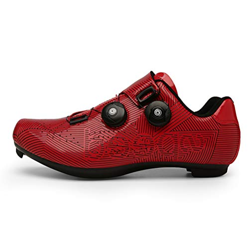 Cycling Shoes Men's Road Bike Shoes with Compatible Cleat Peloton Shoe with SPD and Delta, Spin Shoes Indoor Cycling Shoes for Men Lock Pedal Bike Shoes Red 11.5