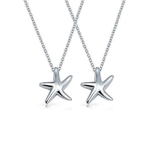 Set Of 2 Small Starfish Nautical Beach Pendant Necklace For Women Girlfriend Polished 925 Sterling Silver 16 Inches