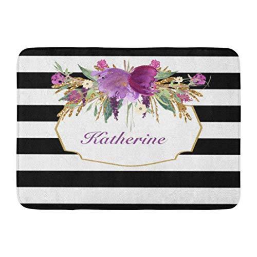 Soefipok Alfombra de baño Vintage púrpura Oro Acuarela Flores Glam baño decoración Alfombra