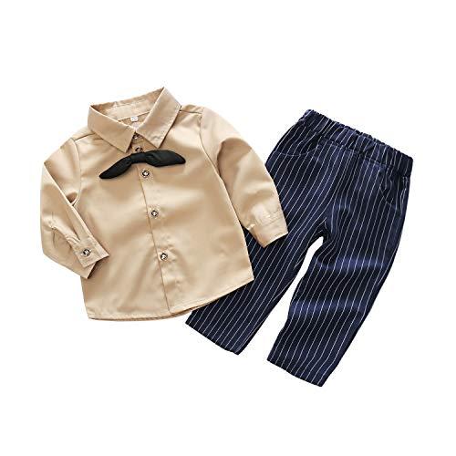 PUJIANGxian Boy hemd met lange mouwen gestreept broekpak tweedelig pak heer wordt binden stijl