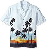 Amazon Brand - 28 Palms Men's Relaxed-Fit 100% Cotton Tropical Hawaiian Shirt, Sunset Scenic Light Blue, XX-Large