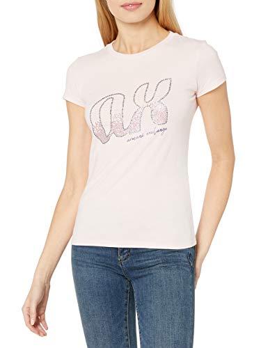 Armani Exchange Embellishment Logo Camiseta, (Cotton Candy 1468), X-Large para Mujer