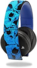 MightySkins Skin Compatible with Sony PS4 Gold Wireless Headset Headphones Sticker Skins Blue Skulls