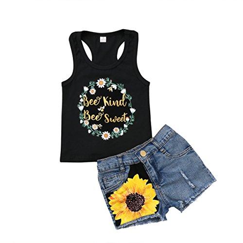 2Pcs/Set Fashion Toddler Kids Baby Girl Sleeveless T-Shirt Top+Floral Denim Shorts Outfits (Black+Denim, 2-3 Years)