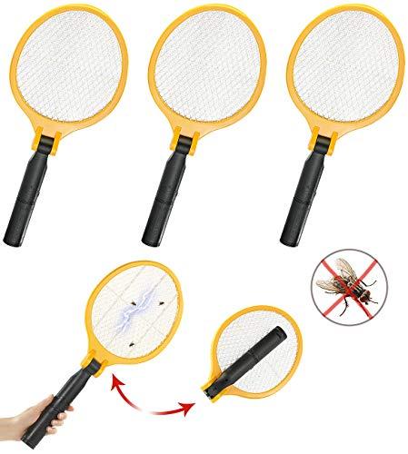 infactory Insektenvernichter: 3er-Set Elektrische Fliegenklatsche mit klappbarem Griff (Fliegen-Klatschen)