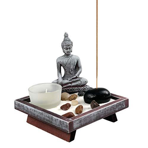OM HOME Jardin Zen Figura Buda en Bandeja Cuadrada,con portavela, portaincienso y Roca decoración …