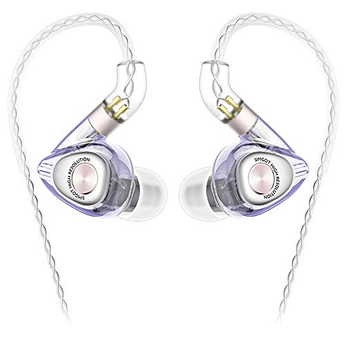 SIMGOT EM2 High-Res in-Ear Monitor Headphones with 1BA+1DD Hybrid Balanced Armature Driver, Noise-Isolating IEM Earphones with Detachable Cable, Professional Musician Headset with HiFi Earbuds(Purple)