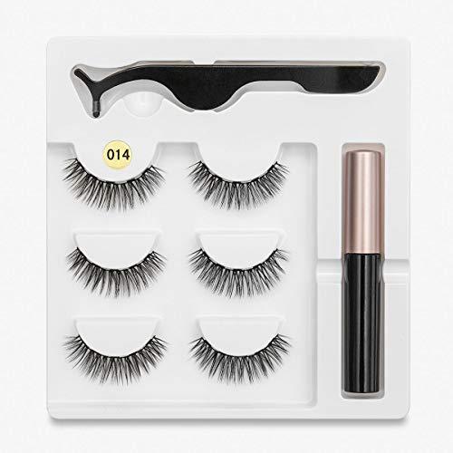SMXGF 3 Magneet Mix Wimpers Set Magnetic Liquid Eyeliner & Magnetic Valse Wimpers & Tweezer Natural Waterproof Long Lasting Wimper (Color : 014)