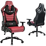 KCREAM Gaming Chair,Ergonomic Racing Office Computer Chair Adjustable Headrest and Massage Lumbar Pillows PVC Leather High-Back Swivel Task Chair with Footrest (8525-red)