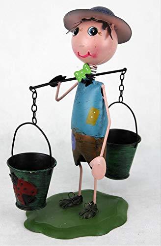 Decohouse - MACETERO Original MUÑECO Chapa Cubos- Soporte Flores Plantas Divertido Jardin Metal - 18x9x23 cm - Regalo Original y Barato