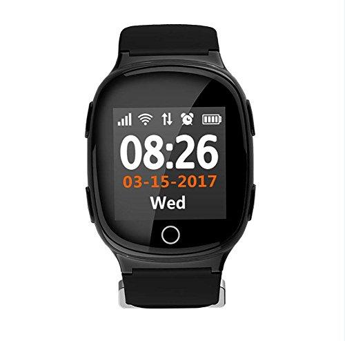 Deest Reloj GPS Seguimiento de Seguridad por WiFi Rastreador de SmartWatch para Ancianos Niños Adolescentes Autismo Alzheimer Localizador Personal de GPS SOS, Black