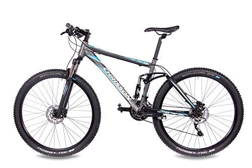 CHRISSON 29 Zoll Mountainbike Fully - Hitter FSF grau blau - Vollfederung Mountain Bike mit 30 Gang Shimano Deore Kettenschaltung - MTB Fahrrad für Herren und Damen mit Rock Shox Federgabel - 3