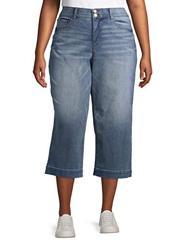 Terra & Sky Women's Plus Size Wide Leg Jean (22W, Medium Wash)