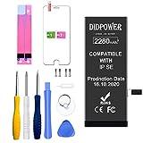 Didpower Reemplazo Compatible con iPhone SE 2280mAh [Super Capacidad] Batería con Kits de Herramientas de Reparación, Hoja de Vidrio Templado, Manual de Reparación