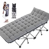 NAIZEA Folding Camping Cot, Double Layer Oxford Strong Heavy Duty Wide Sleeping Cots with Carry Bag, Portable Travel Camp CotsFoldable Bed Military Cot for Indoor & Outdoor (Pearl Cotton Pad)
