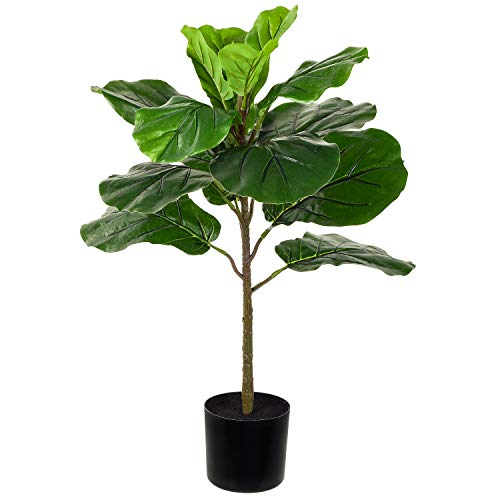 Lvydec 27 Inch Artificial Fiddle Leaf Fig Tree, Mini Faux Fiddle Leaf Tree with Planter for Living Room Bedroom Office Decoration