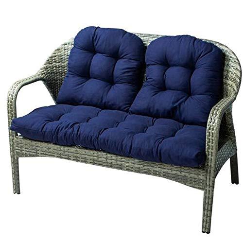 Garden Thick Bench Cushion, 3Pcs Cotton Garden Bench Seat Cushions Garden Patio Cushion including 1Pcs Bench Cushion(110x50cm), 2Pcs Seater Cushions (48x48cm) for Indoor Outdoor (Navy Blue)