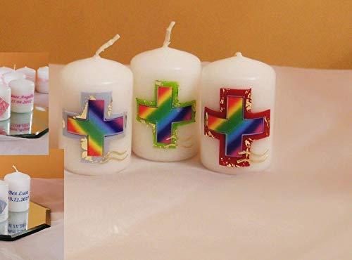Taufkerze/Gastgeschenke,Tischdekor,Kommunionkerze**Regenbogenkreuz-Junge Mädchen