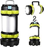 LED Camping Lantern, Rechargeable Portable Lantern Flashlight, 3600mAh Power Bank, Two Way Hook of Hanging, Perfect for Hurricane, Emergency Light, Outdoor Recreations, USB Cable Included (Green)