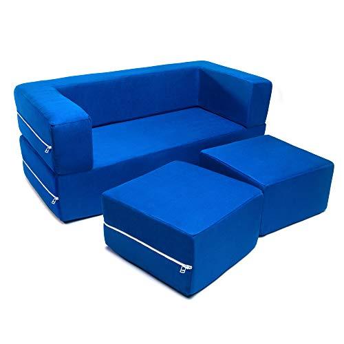powerful Jaxx Zipline Kids Modular Loveseat & Ottomans / Folding Bed, Blueberry