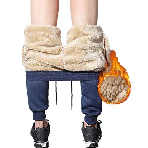 LOPILY Winterhose Damen Gefütterte Jogginghose mit Innenfleece Thermo Wanderhose Outdoor Sweathose mit Gummizug am Knöchel Große Größen Winter Sportbekleidung Extra Warm