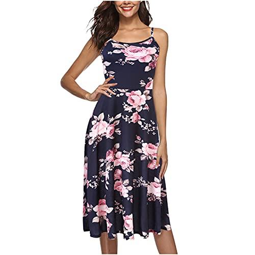 yudjzgt Vestido de tirantes para mujer, largo hasta la rodilla, de verano, con tirantes finos, elegante, suelto, informal, vestido de flores, vestido de playa, vestido de tiempo libre. Rosa. M