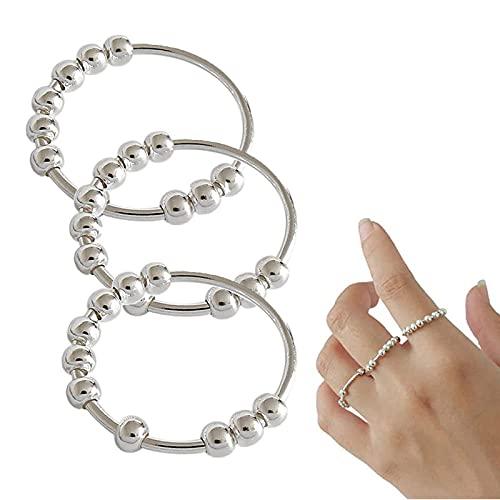 FGHUB 2/3 Pcs Anillo de ansiedad, Spinner Fidgetde Plata Ring, Anillo para Aliviar el Estrés, Anillo de Redondas con Cuentas Geométricas Simples para Mujeres y Hombres (3Pcs,10)