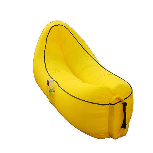 SnugBoy Banana Style Inflatable Air Bed Lounger Couch Chair Sofa Bag Yellow