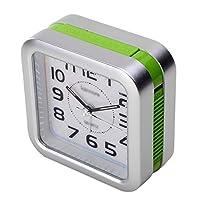 スタイリッシュ ベッドサイド目覚まし時計スヌーズ携帯用旅行目覚まし時計サイレントアナログ目覚まし時計プラスチックケース 絶妙な (Color : Green)