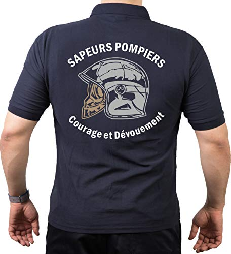 Polo (Navy/Bleu Marine) Sapeurs Pompiers Casque - Courage et Dévouement - neutre L