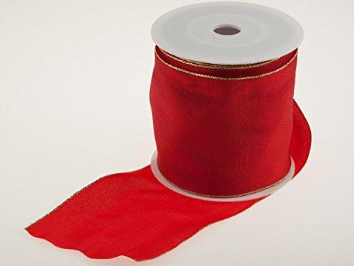 Christa-Bänder Uniband Goldkante Rot mit Draht 100mm