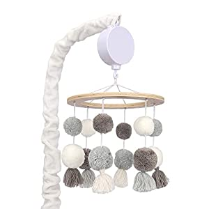 Lambs & Ivy Signature Pom Pom Musical Baby Crib Mobile – White/Gray